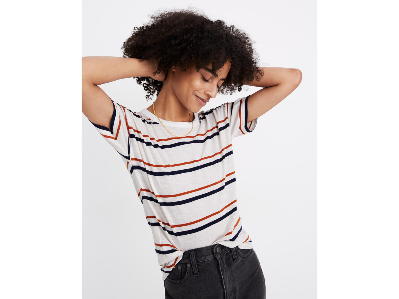 Madewell Whisper Cotton Rib-Crewneck Tee in Smithly Stripe