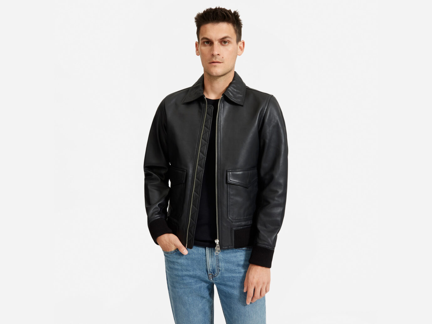 Everlane The Leather Bomber Jacket