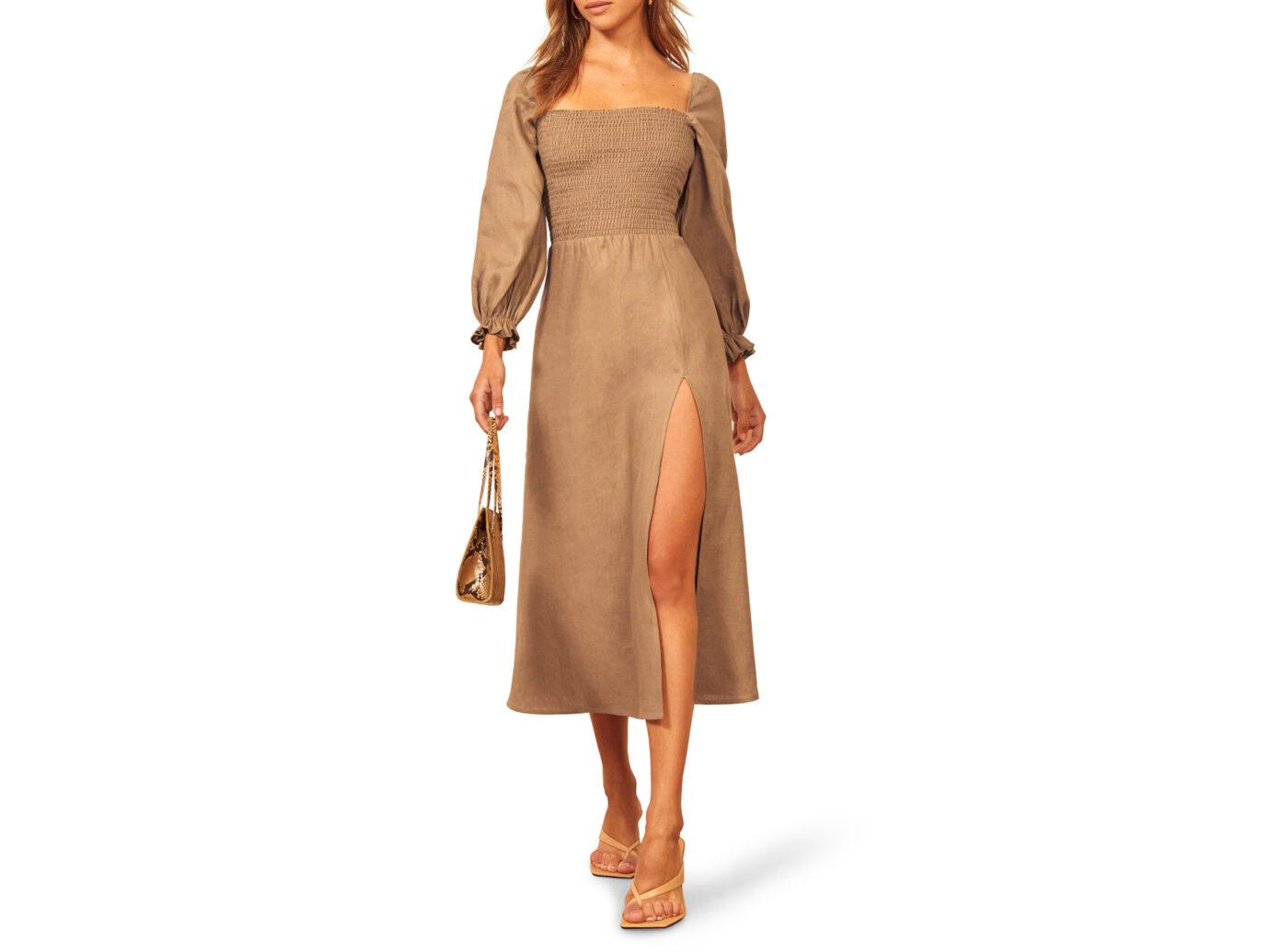 Reformation Gitane Long Sleeve Smocked Linen Midi Dress