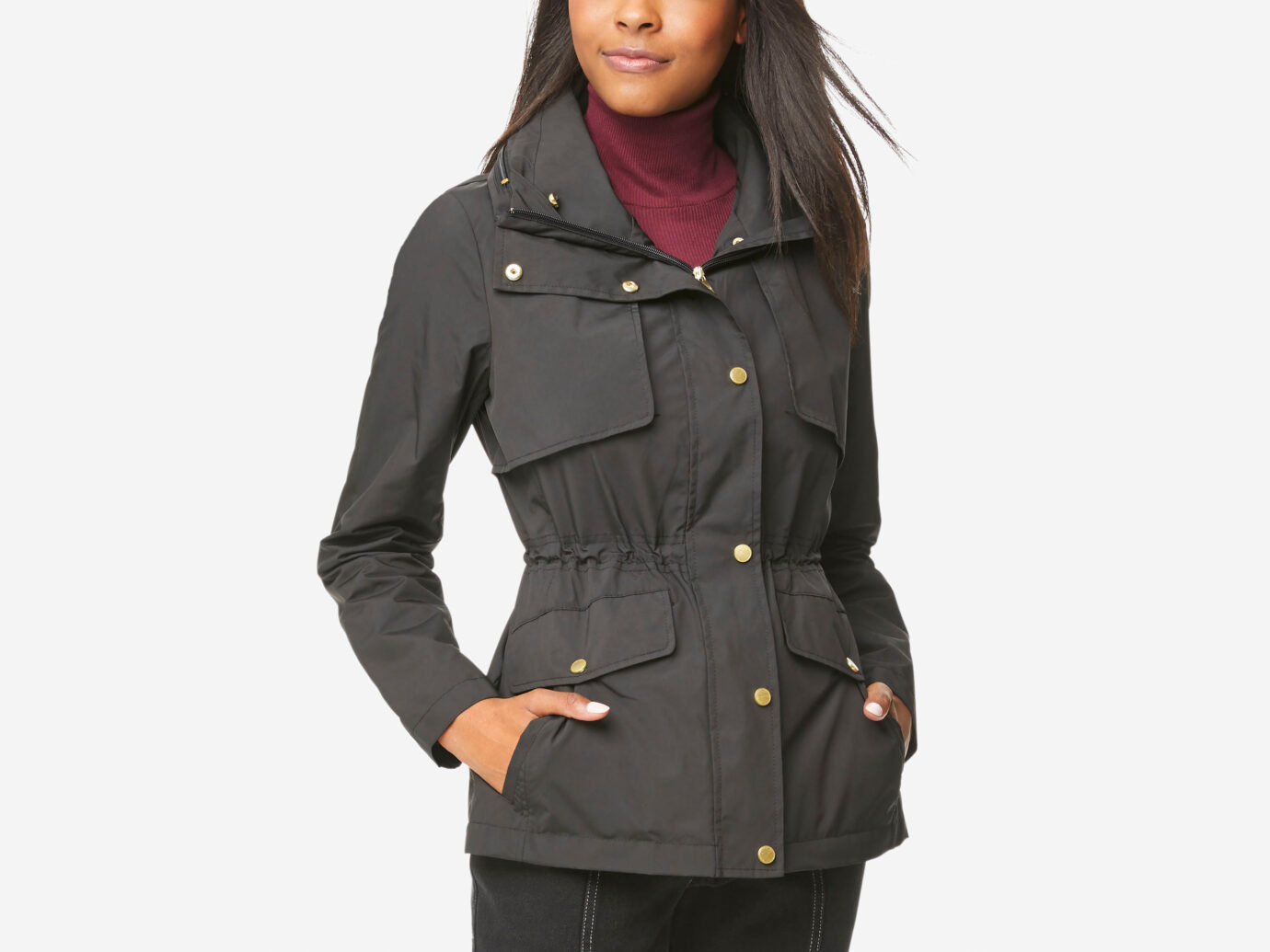 Cole Haan Short Packable Rain Jacket