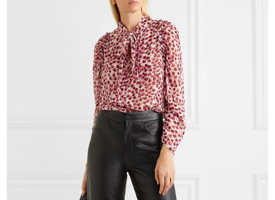 Munthe Tie-neck ruffled leopard-print crepe de chine blouse