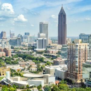 High-angle view of Atlanta's modern skyline, including office buildings, hotels, and condominiums - Atlanta, Georgia, USA