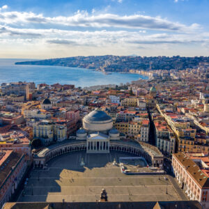 Aerial VIew of Naples from Piazza del Plebiscito on a beautiful sunny day