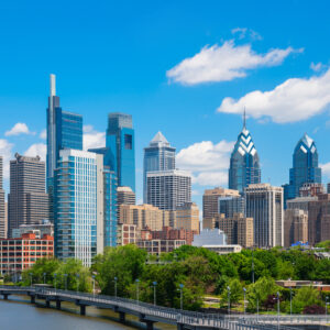 Philadelphia downtown skyline with blue sky and white cloud