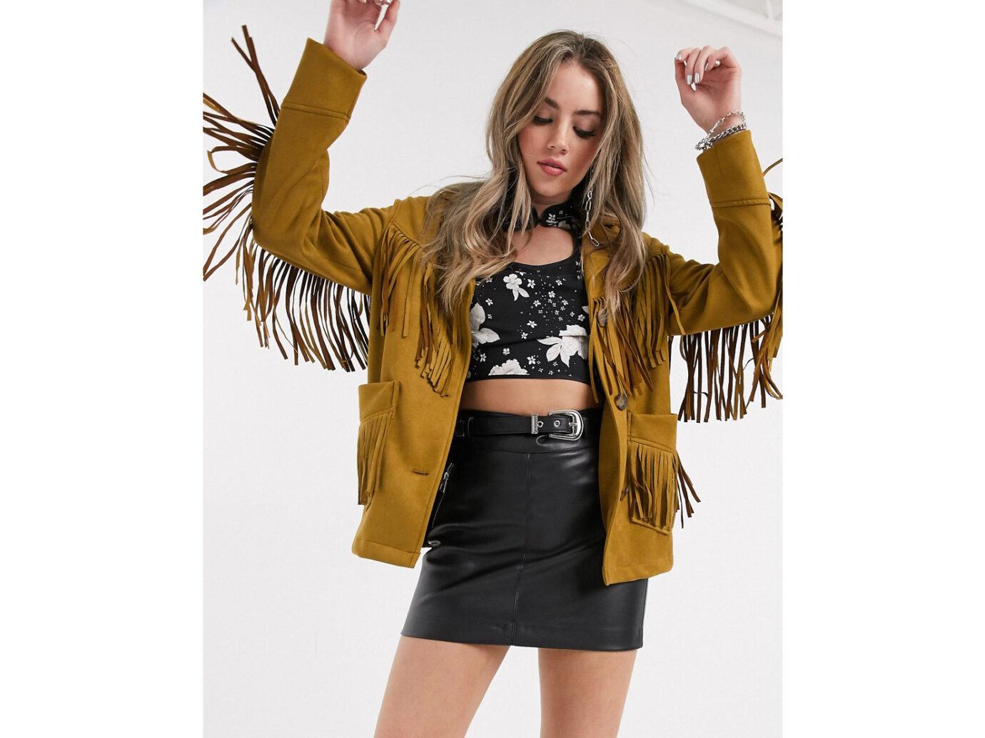 Save: Bershka fringed jacket in tan