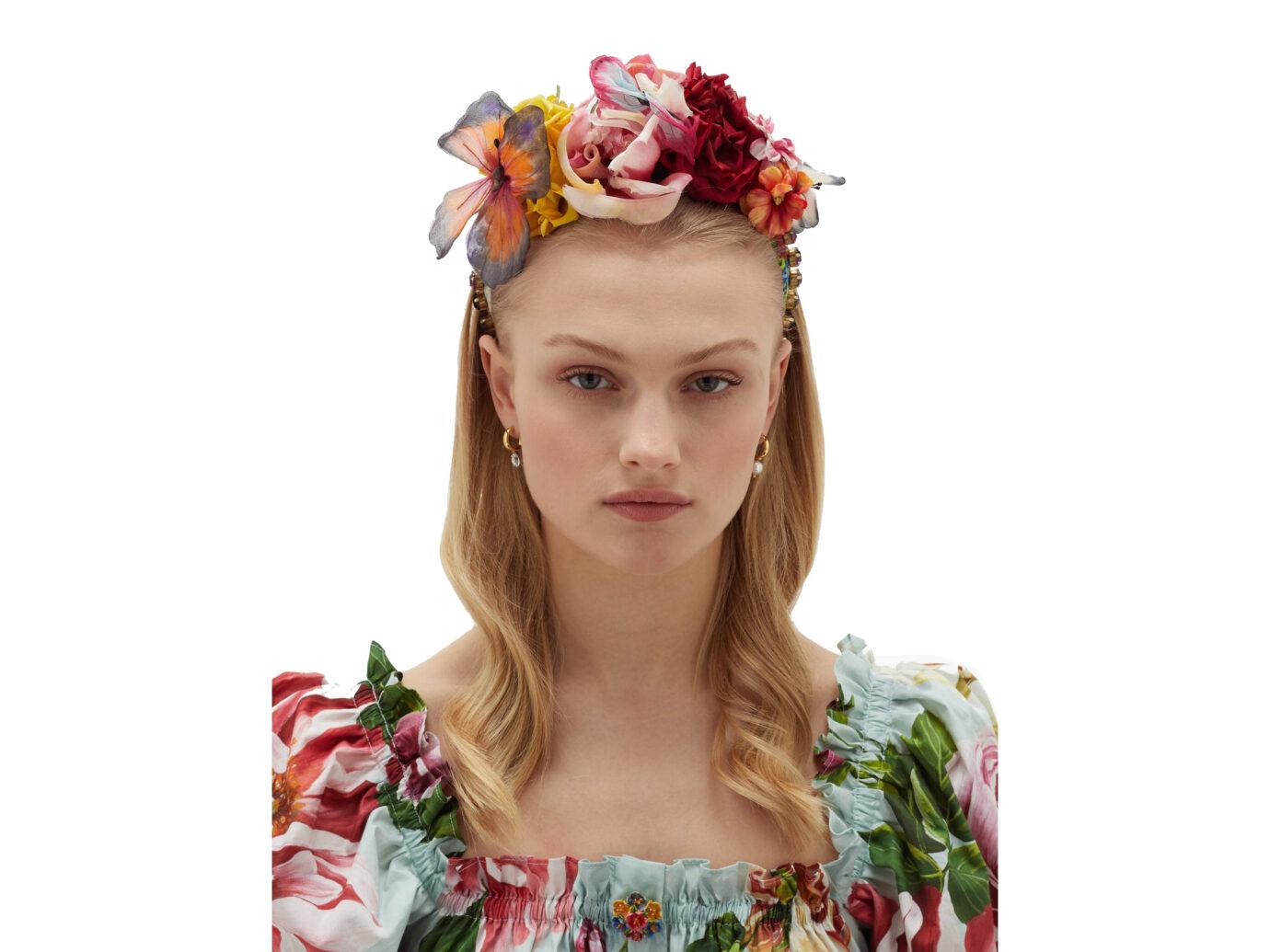LCE & GABBANA Domenico Dolce & Gabbana Flower and crystal-embellished silk headband